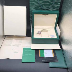 Verde escuro melhor qualidade Watch Box presente Capa Para Relógios Cartão Booklet Etiquetas e documentos em inglês relógios suíços Caixas Top Quality