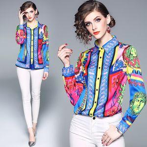 Outono Nova Camisa de Moda Europeia Impressão Polo Pescoço Palácio Multicolor Mulheres Senhora Do Escritório Blusa