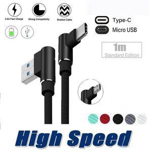 90 degrés Micro USB Câble 1M 2M 3M 2A Type de chargeur rapide Cordons C Tressé la ligne de données pour Samsung S9 S8 S7 Note8 Smartphone téléphones Android OM-T6