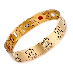 Оптовая человек золото Титана браслеты магнитные артрит терапии Германий браслет здравоохранения голограмма браслеты отрицательные ионы дальнего инфракрасного