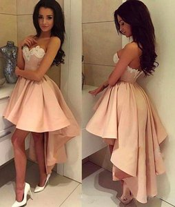 2020 Homecoming Dresses A Line Sweetheart High Low Cocktail Party Dresses With Applique Elastic Satin Short Prom Dresses