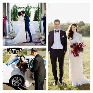 Vintage dentelle pays bohémien manches longues robes de mariée 2019 musulman rom milla nova pure cou robe de mariée robe de mariée