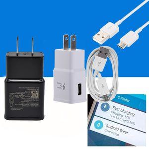 Para Samsung Galaxy S8 Nota 8 S7 Adaptive carregamento rápido cabo de dados Adaptador UE viagem carregador de parede US Tipo C Micro USB
