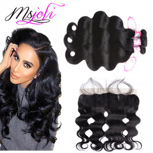 Brazilian Body Wave Hair Frontals with Bundles Human Hair Weaving Extensions Ear To Ear 13x4 8-28 Double Weft Hair Bundles Body Wave