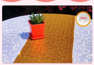 30 * 275 cm Tela Mesa Runner Gold Silver Sequin Table Cloth Sparkly Bling para el banquete de boda productos de decoración suministros Epacket libre