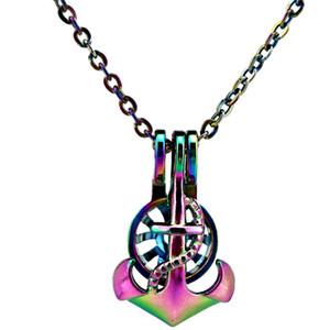C656 Regenbogen Farbe Anker Perlen Käfig Medaillon Anhänger Halskette Charms - Luck Geschenk ätherische Öle Diffusor