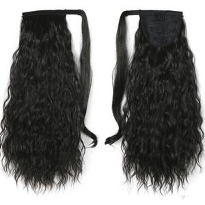 Correa-en Corn pelo rizado tipo cola de caballo trenzada hiphop 120g bobina de medio pelo maíz cabello receptor humano puede ser planchado o teñido