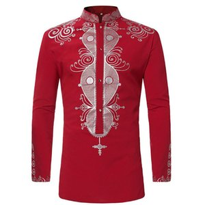Africano impressão Preto Dashiki shirt Homens 2018 Marca New gola Camisas de vestido dos homens de manga comprida Gypsy Tribal Ethnic Vestuário 3XL