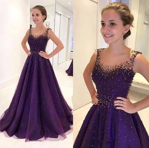 2019 Purple Bling con lentejuelas con cuentas fiesta de quinceañera vestidos de fiesta cuello redondo escarpado una línea de vestidos de noche de longitud de piso vestido de la celebridad