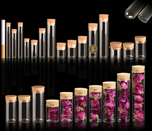 4 ~ 25 ml Rolha De Cortiça Frascos De Vidro Vial Transparente Bung Tubo de Ensaio Artesanato DIY Garrafa de Espécime de Semente