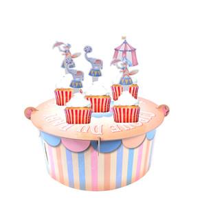Sirk Bebek Duş Kek Standı Oğlan Kız Ilk 1st Doğum Günü Dekorasyon Vintage Çadır Cupcake Standı Masa Centerpiece Parti Dekor