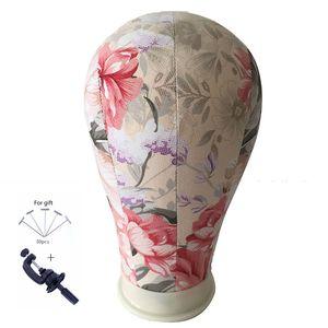 Cork Canvas Block Salon Professional Perruques Faire Mannequin De Fleurs Modèle Manikin Head Fashion Réglable En Métal Trépied Stand Holde