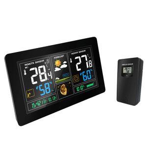 Estação Meteorológica sem fio Sensor de Temperatura E Umidade Colorida Display LCD Previsão Do Tempo Snooze despertador Tempo de Rádio contraol