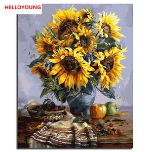 Sunflower Chrysanthemum Flowers Digital Painting handgemaltes Ölgemälde durch Zahlen Ölgemälde chinesische Rollbilder