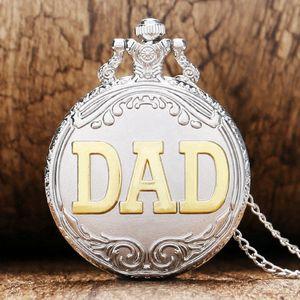 Cool Silver Golden DAD Hollow Design Relojes de bolsillo de cuarzo con collar de cadena Regalos del día del padre para hombres Padre