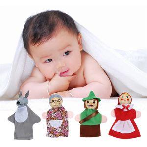 4PCS / Set Little Red Riding Hood Finger Puppet Toy Bambini primi giocattoli educativi Natale Animal Finger Puppet Storytelling Doll