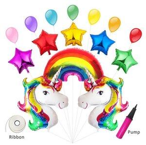15 pcs Bande Dessinée Arc-En-Licorne Ballon Fête D'anniversaire Décor Enfants Joyeux Anniversaire Lettre Ballons Licorne Fête Bébé Douche