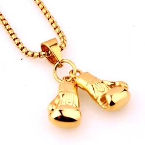 Cool Sport Men's Necklace Fitness Fashion Stainless Steel Pair Boxing Glove Charm Pendants Jewelry Gift VICHOK