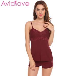 Avidlove منامة مجموعات للنساء جديد القطن البيجامات السباغيتي حزام نوم النوم مثير منامة البيجامة النساء homewear Y18101601