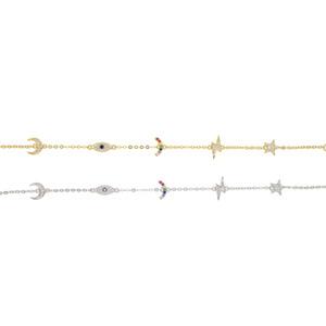 925 Sterlingsilber nette reizende Charmeverbindungs-Kettenarmband für Frauenregenbogen Mondstern glückliches Auge köstliche minimale reizend Armbänder