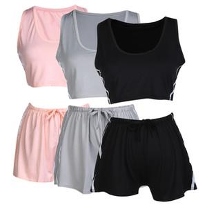 3 цвета сексуальные твердые женщины спортивная одежда йога устанавливает топы и шорты без рукавов круглый воротник M-XL Спорт фитнес тренажерный зал йога одежда