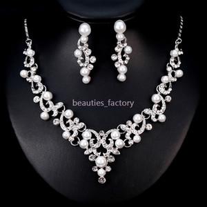 Joyería nupcial de la boda Artificial Pearl Crystal Rhinestone Collar Pendiente Conjuntos Wedding Party Jewelry Accessories BA182 Nuevo