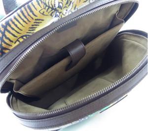 Michan Stripe New Men Moda Lona Mochila G Backpack de couro Bolsa Purse Tiger Impresso Real Impressão Mulheres Verde Ilijh