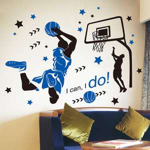 [SHIJUEHEZI] Basketball Player Wall Sticker Creative Sports Style Wall Decals for Boy's Room Basketball Court Decoration