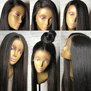 Peluca frontal de encaje 360 para cola de caballo alta y updo 180% densidad Pelucas de cabello humano para mujeres con cabello de bebé Natural Black Hair 360