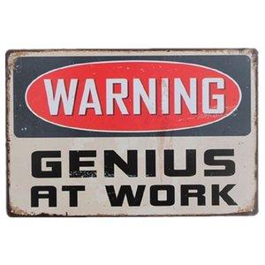 Uyarı Genius At Work Vintage Metal Işaretleri Ev Dekor Cafe Bar Dekorasyon Plak Pub Dekoratif Metal Duvar Sanat Plakaları Kalay Işareti Retro 20x30 cm