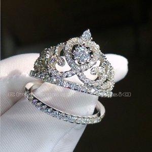 Choucong العلامة التجارية الحجم 5-10 مجوهرات الماس 925 الفضة الاسترليني خطوبة زفاف ولي خاتم مجموعة للنساء الرجال