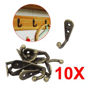 10pcs set Zinc Alloy Bronze Vintage Style Wall Mounted Single Hook Hangers Storage Organizer Wall Mount Free Hardware Pack E2S