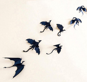 3d drago adesivo halloween fantasy decor dinosauri art decalcomanie adesivi murali festa evento decorazioni di sfondo del partito nero 7 pz / set
