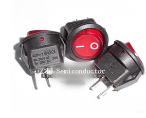 25 unids Mini Round Boat Rocker Switches Red 2 Pin ON / OFF Rocker Switch 3A / 250V 6A / 125V ic