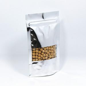 Tenez le sac d'emballage de sac de fermeture éclair de mylar de nourriture de sac en aluminium de fermeture à glissière de feuille d'aluminium de 12 * 18cm 50Pcs / lot avec la fenêtre claire