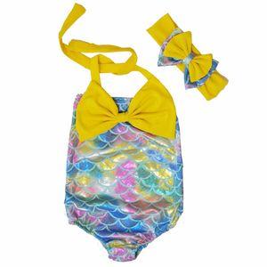 어린이 인어 공주 수영복 보우 머리띠 + 보우 수영복 2pcs / set 만화 인어 비키니 어린이 한 벌 수영복 4 디자인