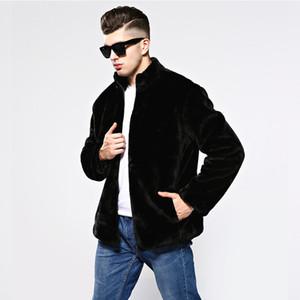 Mingjiebihuo Nueva moda chaqueta de piel sintética de los hombres Otoño e invierno de los hombres coreanos grueso más el tamaño cómodo cálido gruesa chaqueta guapa