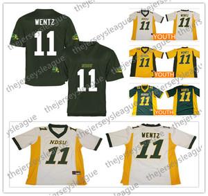 NCAA Herren Jugend NDSU Bison # 11 Wentz Gelbgold Grün Weiß Genähte North Dakota State College Trikots Rabatt Größe S-3XL