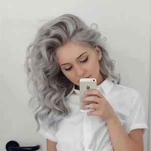 Gris Cheveux ondulés Lace Front perruque Remy Brésilien Vierge cheveux courts dentelle perruque Remy en vrac vague profonde Pré plumé gris argent perruque
