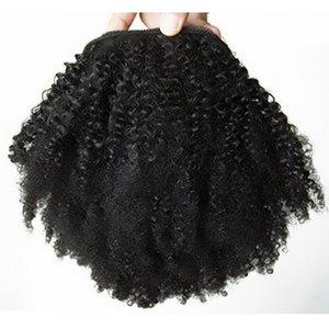 Afro crépus bouclés 100% extension de cheveux de queue de cheval cheveux humains pour les femmes noires 1B couleur clip en cordon de serrage queue de cheval pour les femmes noires 10-20inch 120g