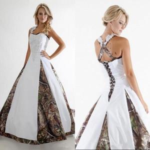 Vestidos de novia de la boda de Camo de nuevo una línea vestidos de boda cabestro corte de las colmenas apliques de encaje de tren al aire libre con el cordón parte posterior con Vestios de novia