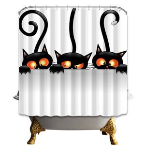 Caldo giro Halloween carino nero gatto bagno tessuto doccia tenda imposta impermeabile con 12 ganci anelli 71 * 71 pollici