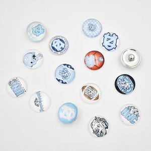 NCAA UNC Carolina del Norte 18 MM botón de vidrio a presión encantos accesorios de la joyería Snap de alta calidad para collar pendiente de la pulsera