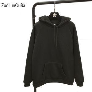 Zuolunouba Winter Lässig Mantel Fleece Frauen Hoodies Sweatshirts Langarm Mädchen Pullover lose einfache Kapuze Female dick Solid