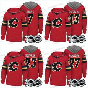 Homens 100 Calgary Chamas Jerseys 13 Johnny Gaudreau 7 T. J. Brodie 19 Matthew Tkachuk 23 Hoodies Sean Monahan Camisolas