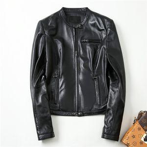 Gours genuínos jaquetas de couro para as mulheres primavera clássico moda curto motocicleta casaco de pele de carneiro jaqueta estilo punk preto casacos HSW1858