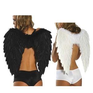 Plume Ange Aile Étape Effectuer Noir Blanc Photographie Vêtements Accessoires Halloween Bal Adulte Prop Fournitures De Mariage Décor De Fête 13hm2 bb