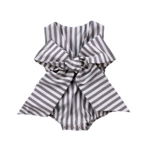 Adorable Baby Girls Bow Stripes Romper Newborn Kids Jumpsuit Clothes Outfits Summer