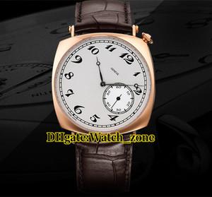 New Historiques American 1921 82035 / 000R-9359 esfera blanca, reloj para hombre con caja de oro rosa, correa de cuero para hombres Relojes de pulsera
