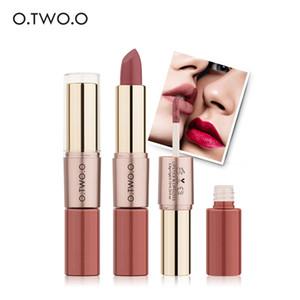 O.TWO.O 2 in 1 matte Lippenstift-Verfassungs-Kosmetik-wasserdichte langlebige Lipgloss Pintalabios Batom-Kameraden 12 Farbe wählen